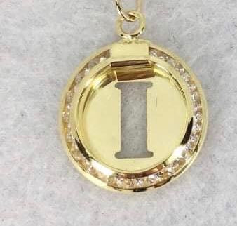 A-Z Letter Cutout Round Pendant with Chain Necklace in 18K Gold - ZNZ Jewelry Philippines