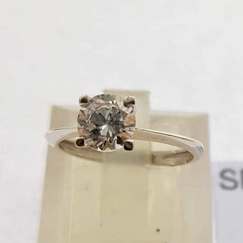 18K 2ct Solitaire White Gold Engagement Ring with Slim Band  OTN2