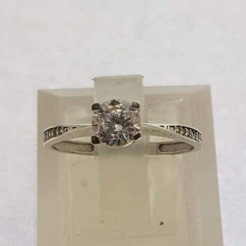 18K White Gold Engagement Ring with Reversed Tapered Band  OTN3