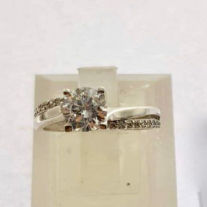 18K White Gold Engagement Ring with Alternate Stone Band  OTN4