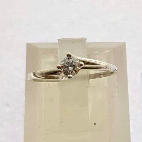 18K White Gold Solitaire Engagement Ring  with Twist Band OTN5