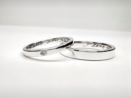 MORGAN 18K White Gold Wedding Bands, Handmade, Solid - ZNZ Jewelry Philippines
