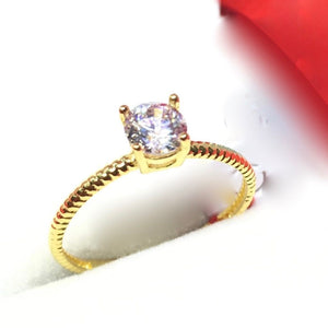 ARYA  18K Solitaire  Engagement Ring with Braid Style Band - ZNZ Jewelry Philippines