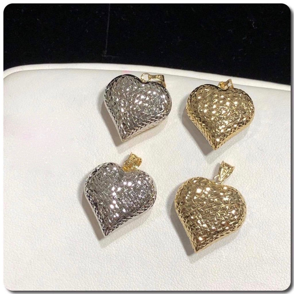 18K Gold Two Tone Heart Pendant NTN29 - ZNZ Jewelry Philippines