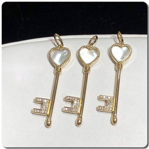 18K Gold Key Pendant NTN53 - ZNZ Jewelry Philippines