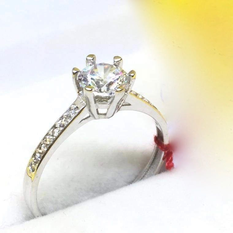 KYLIE 14K White Gold Engagement Ring with Side Stones, Made-to-Order - ZNZ Jewelry Philippines