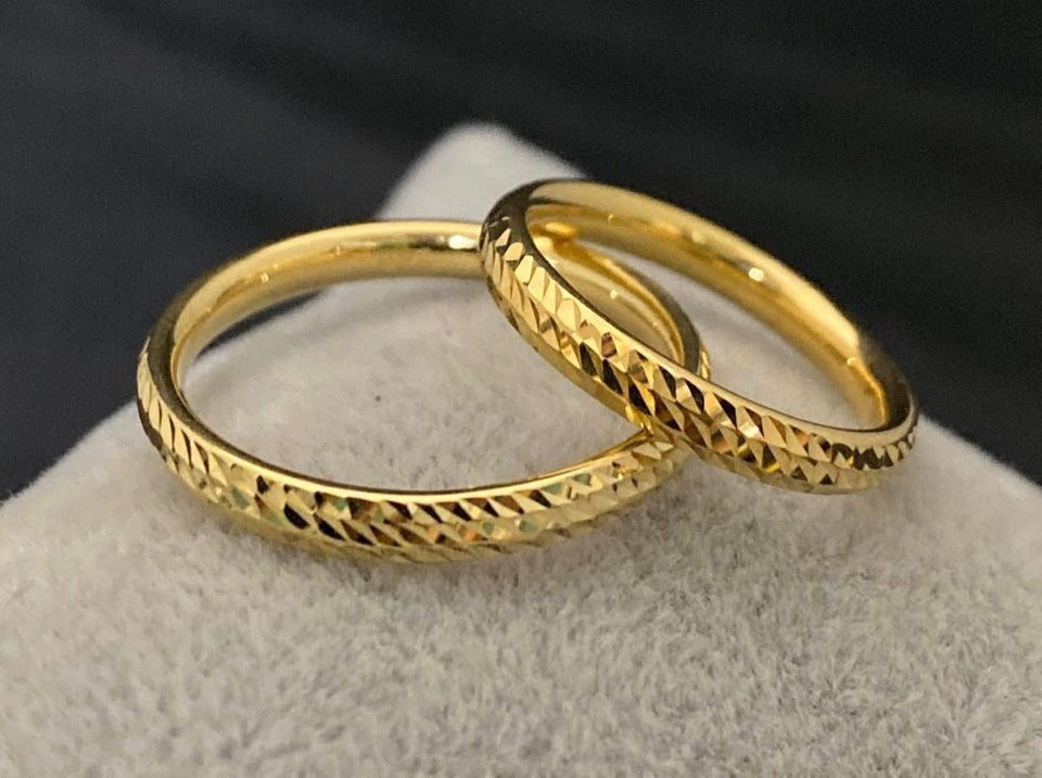 CECIL 18K Gold Thin Trendy Wedding Bands, Couple Rings - ZNZ Jewelry Philippines