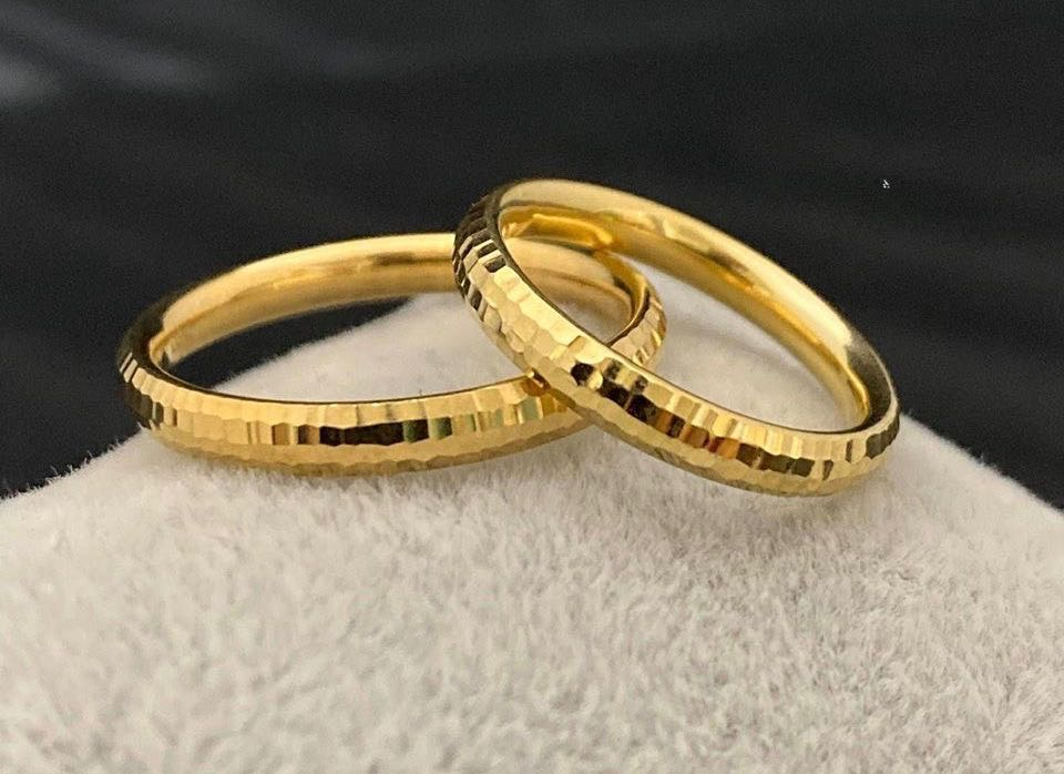 EARL 18K Gold Thin Trendy Wedding Bands, Couple Rings - ZNZ Jewelry Philippines