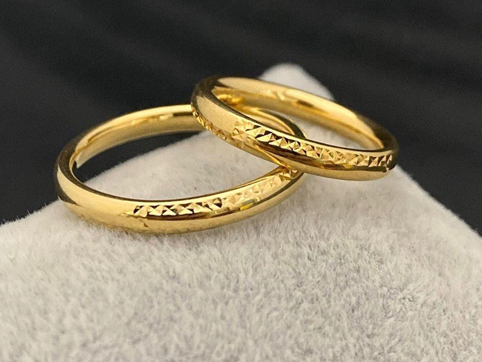 DELL 18K Gold Thin Trendy Wedding Bands, Couple Rings - ZNZ Jewelry Philippines