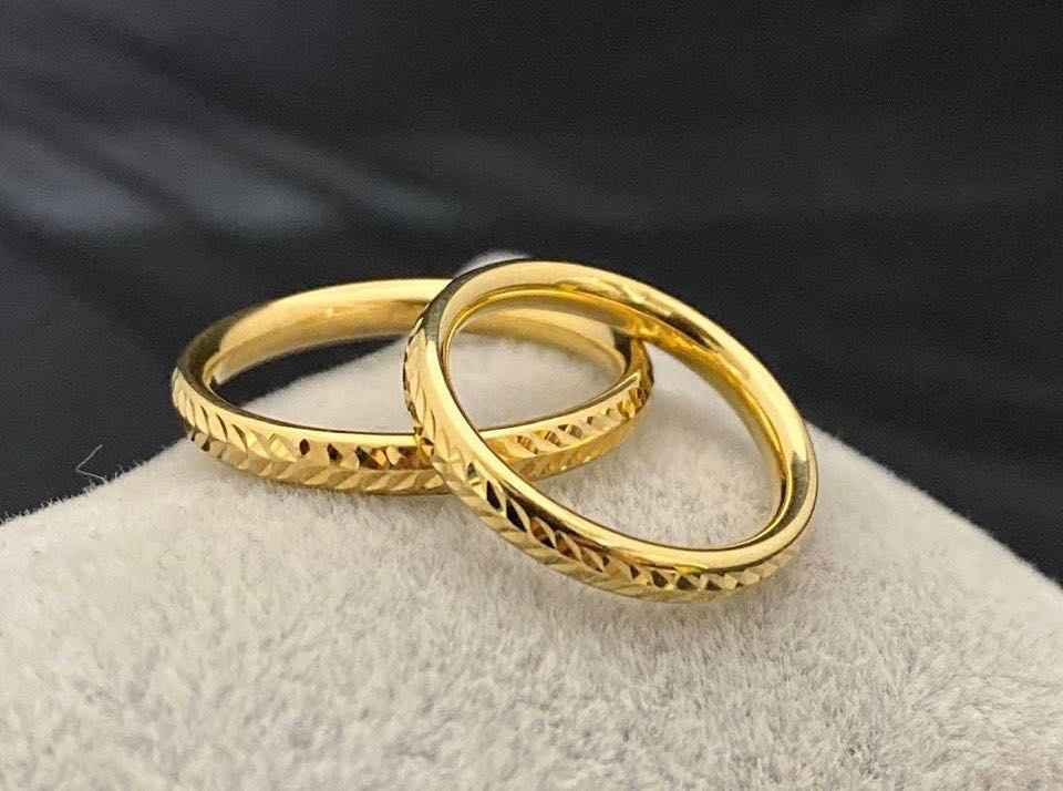 IRA 18K Gold Thin Trendy Wedding Bands, Couple Rings - ZNZ Jewelry Philippines