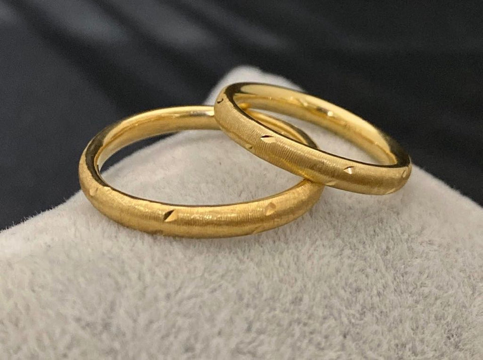 JESSE 18K Gold Thin Trendy Wedding Bands, Couple Rings - ZNZ Jewelry Philippines