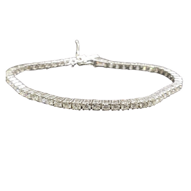 Tennis Bracelet 4ct Diamond 18K White Gold, 6.5 inches Length, VVS1 Clarity, H Color