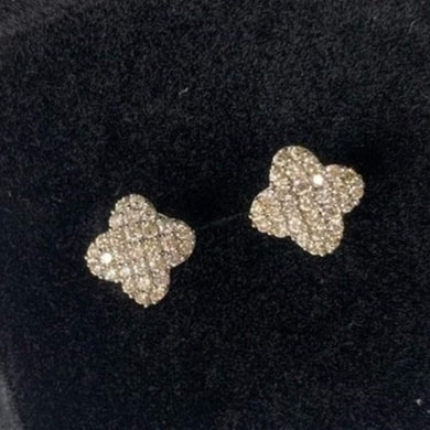 .50ctw Diamond Clover Earrings 18K White Gold
