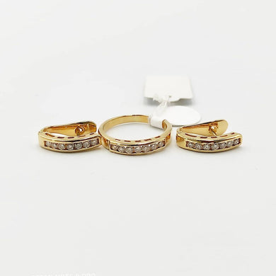 .60ctw Diamond Hoop Earrings and Ring Jewelry Set in 18K Yellow Gold