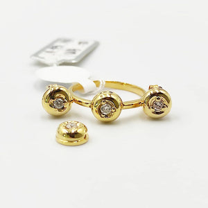 .30ctw Donut Diamond Stud Earrings, Ring, Pendant Jewelry Set in 14K Yellow Gold