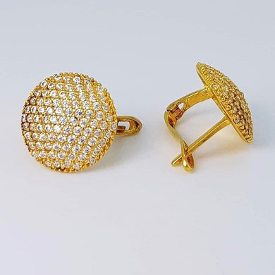 Round Studded Paved Earrings 18k Gold -SOLD OUT-
