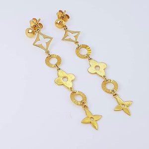 Clover Dangling Earrings 18k Gold
