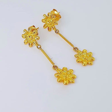 Sunflower Dangling Earrings 18k Gold