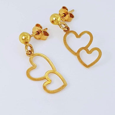 Cascading Hearts Earrings 18k Gold