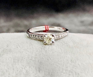 Engagement Ring White Gold, .35ct Diamond with Side Diamonds, YLONA