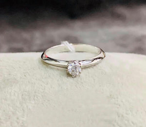 Engagement Ring White Gold, .17ct Solitaire Diamond with 6 Prongs, ESTHER