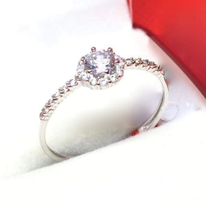 MYSTIC Halo Engagement Ring 18k White Gold