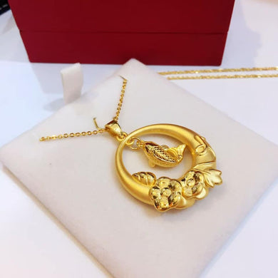 Fish and Lotus Pendant 24K Gold