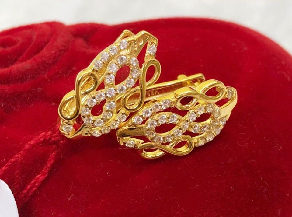 18K Gold Infinity Earrings ftt49 - ZNZ Jewelry Philippines