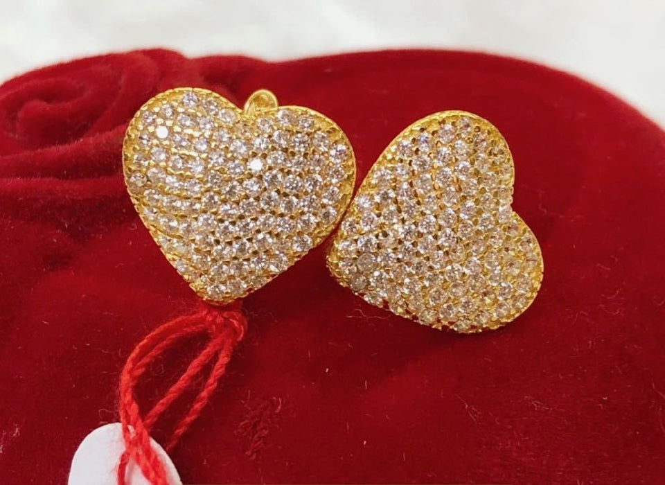 18K Gold Studded Heart Earrings ftt50 - ZNZ Jewelry Philippines