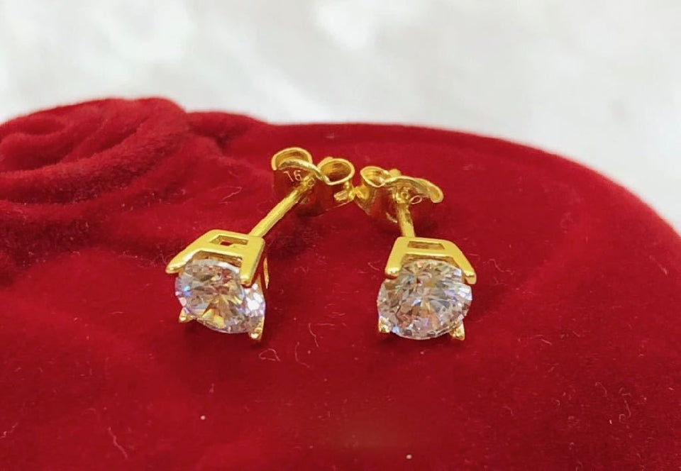 18K Gold Crystal Stud Earrings ftt61 - ZNZ Jewelry Philippines