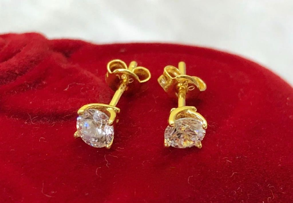 18K Gold Crystal Stud Earrings ftt62 - ZNZ Jewelry Philippines