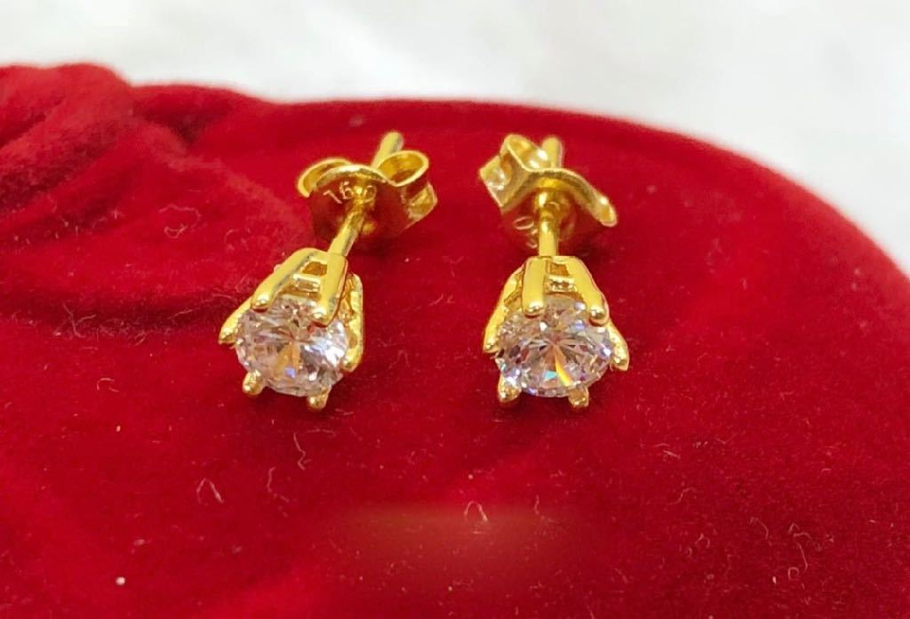 18K Gold Crystal Stud Earrings ftt63 - ZNZ Jewelry Philippines