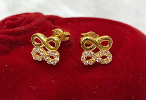 18K Gold Small Twin Infinity Earrings ftt71 - ZNZ Jewelry Philippines