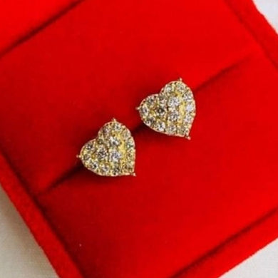 .60ctw Heart Diamond Earrings 18K Yellow Gold