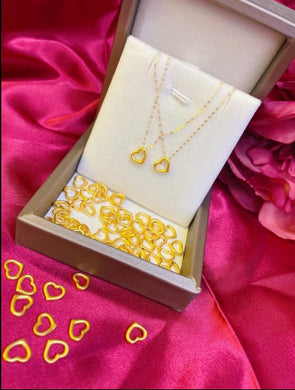 Heart Necklace , 24K Gold Pendant with 18K Gold Chain