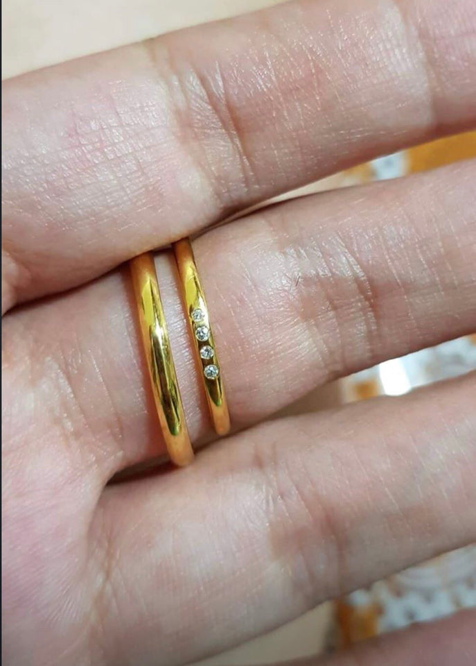 VENTIS 14K Gold 4-Diamond Wedding Band, 1.2mm and 2mm, Handmade, Solid, Polished Finish - ZNZ Jewelry Philippines
