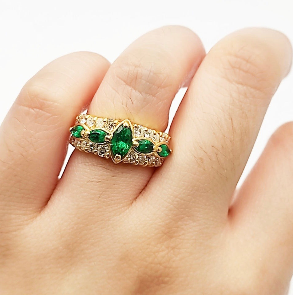 Emerald Marquise Half Eternity Ring/ Women's Ring in 18K Gold