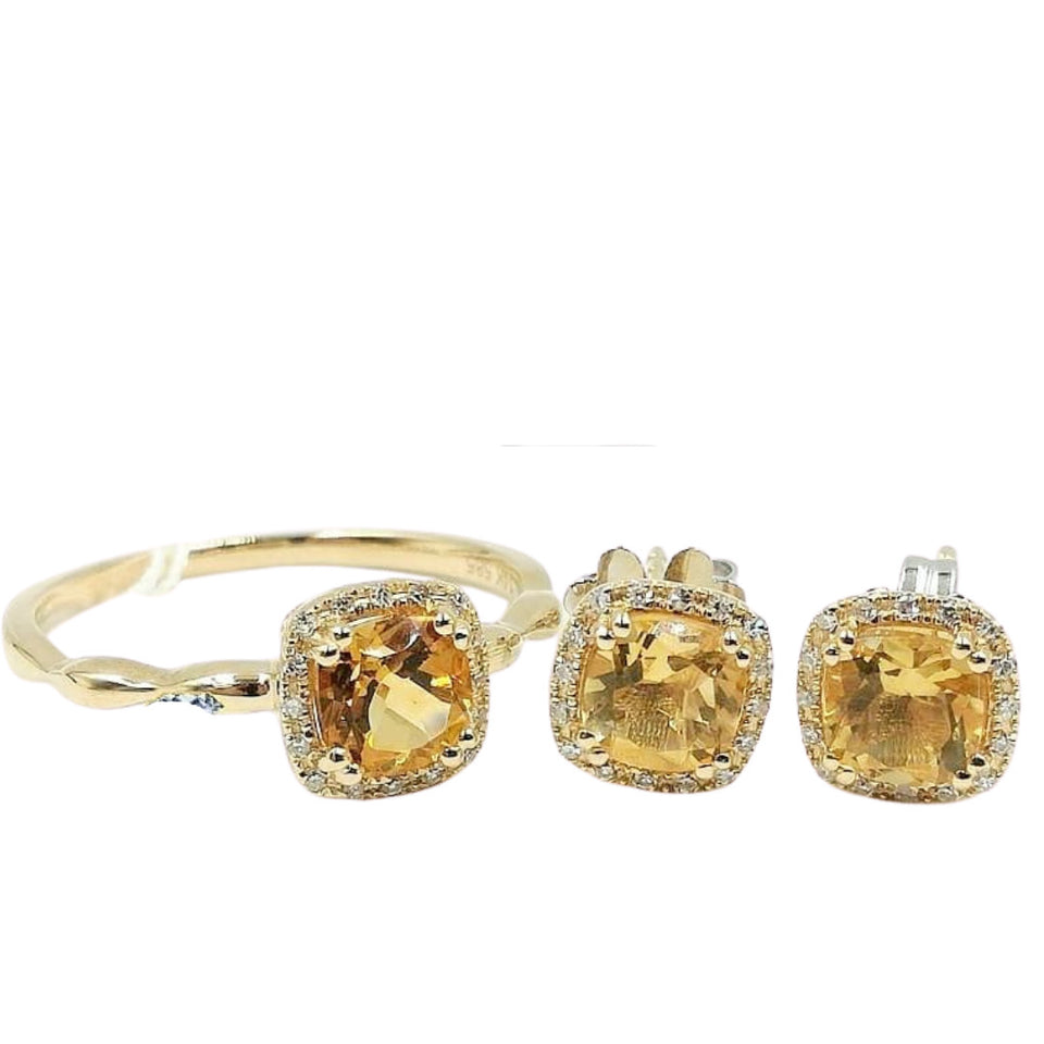 Topaz Diamond Halo Jewelry Set 14K Gold
