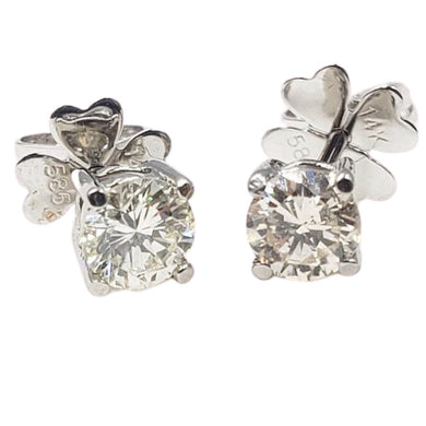.24ct each Diamond Stud Earrings 14K White Gold