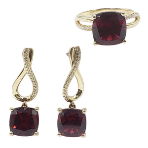 Ruby with Diamond Infinity Dangling Earrings & Ring Jewelry Set 14K Gold