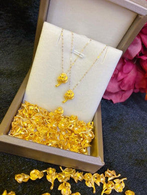 Flower Necklace , 24K Gold Pendant with 18K Gold Chain