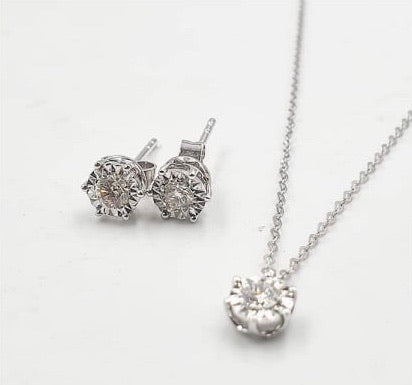 Diamond Stud Jewelry Set