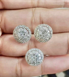 2ct Diamond Jewelry Set in 18K White Gold, Round, - ZNZ Jewelry Philippines