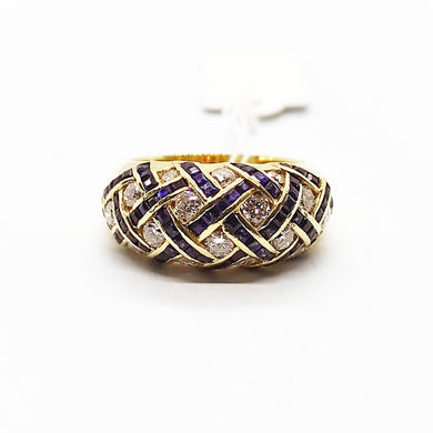 Blue Sapphire Diamond Interlace Ring 18K Gold