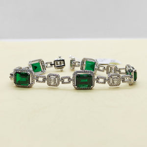 11ctw Green Emerald Diamond Bracelet 14K White Gold