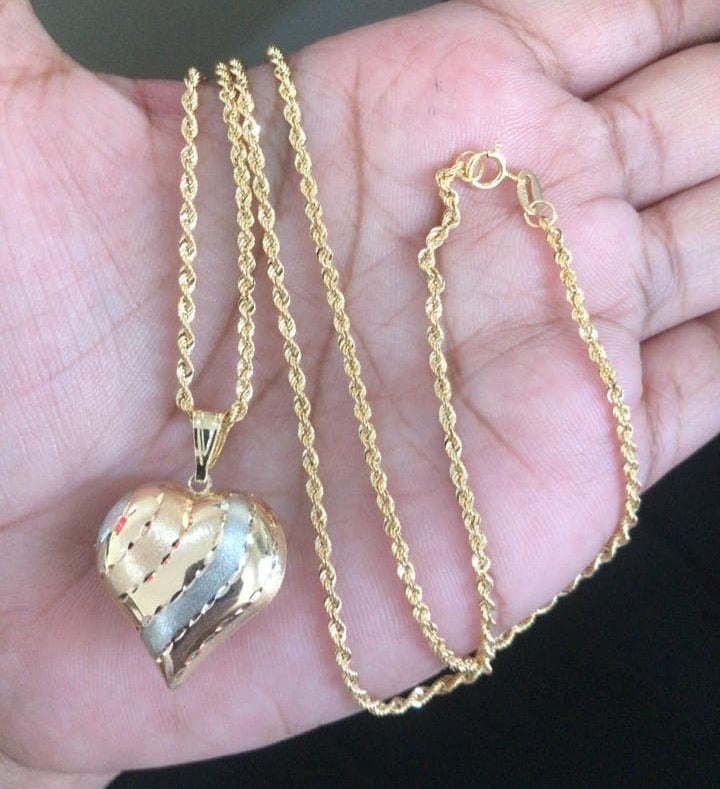 18K Heart Necklace with Rope Chain 24 inches - ZNZ Jewelry Philippines