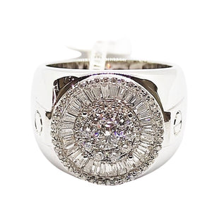 3ctw Round and Baguette Diamond Men's Ring 18K Gold