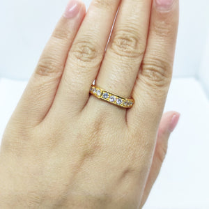 Half Eternity Angular Diamond Ring 14K Gold
