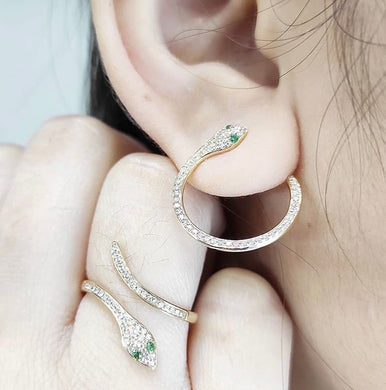 Emerald Eyed Snake Jewelry Set with Diamonds 14K Yellow Gold