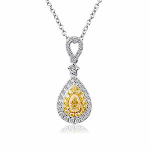 .10ctw Yellow Pear Cut Diamond Drop Necklace 18K White Gold with .22ctw Diamond Halo